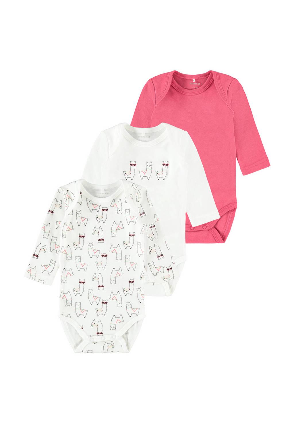 NAME IT BABY romper - set van 3 wit/roze, Roze/wit