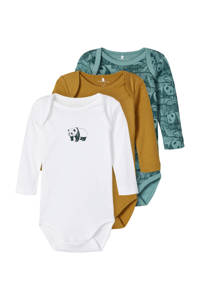 NAME IT BABY romper - set van 3 wit/bruin/groen, Wit/bruin/groen