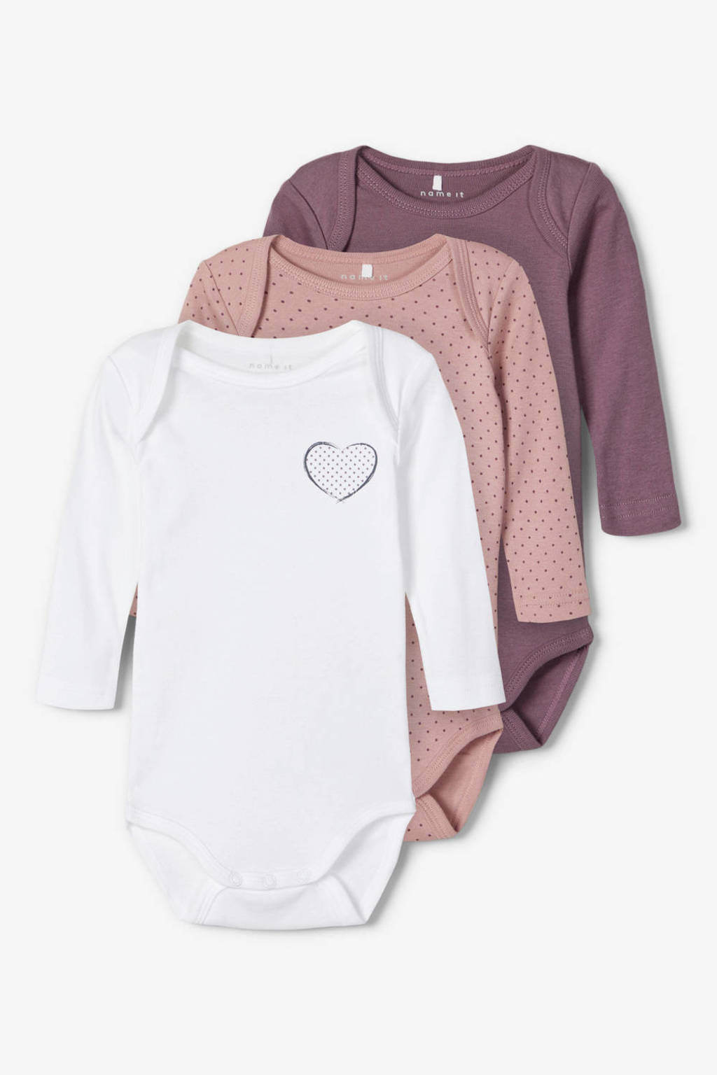 NAME IT BABY romper - set van 3 paars/oudroze/wit, Paars/oudroze/wit