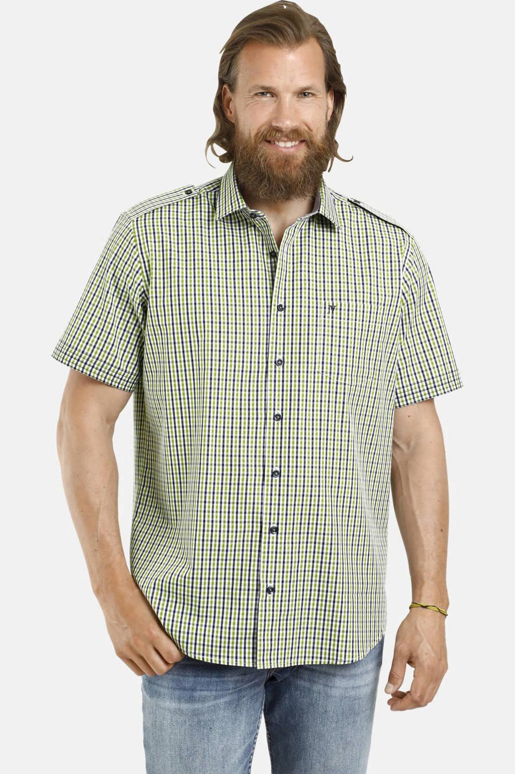Jan Vanderstorm geruit loose fit overhemd Plus Size Raulin groen, Groen