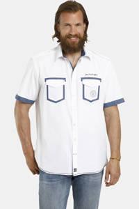 Jan Vanderstorm loose fit overhemd Plus Size met contrastbies wit/blauw, Wit/blauw