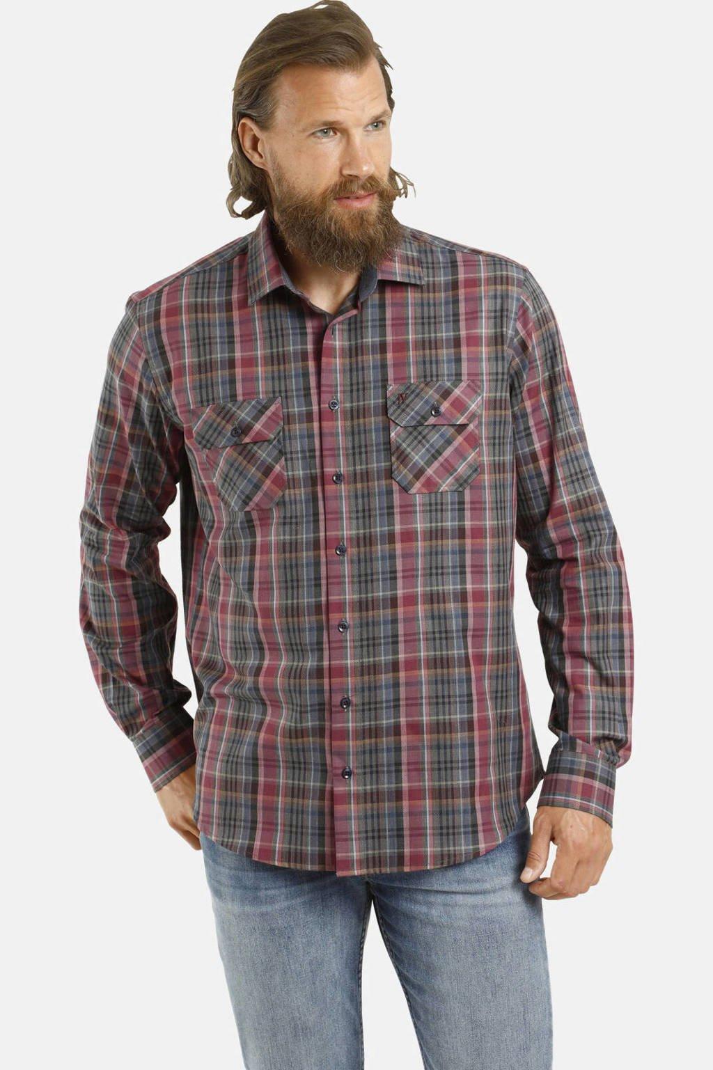 Jan Vanderstorm geruit loose fit overhemd Plus Size Osmin donkerrood, Donkerrood