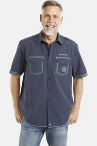 Jan Vanderstorm loose fit overhemd Plus Size LOKE met contrastbies donkerblauw, Donkerblauw