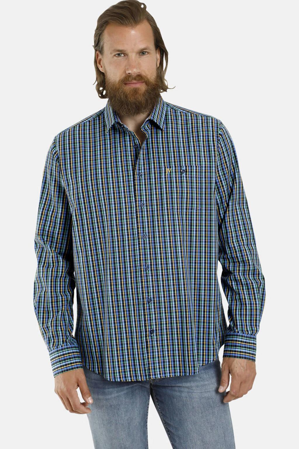 Jan Vanderstorm geruit loose fit overhemd Plus Size Latham blauw/geel, Blauw/geel