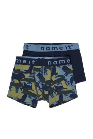 boxershort - set van 2 donkerblauw/geel/donkergroen