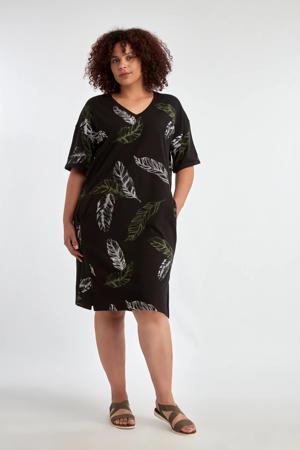 jurk met bladprint en open detail zwart/groen/wit