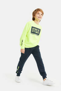 WE Fashion sweater met tekst neon geel, Neon geel