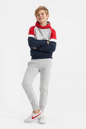 hoodie rood/grijs/donkerblauw