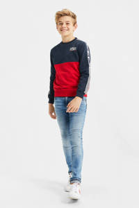 WE Fashion sweater met contrastbies donkerblauw/rood/wit, Donkerblauw/rood/wit