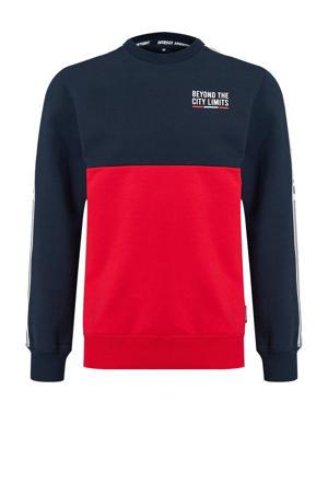 sweater met contrastbies donkerblauw/rood/wit