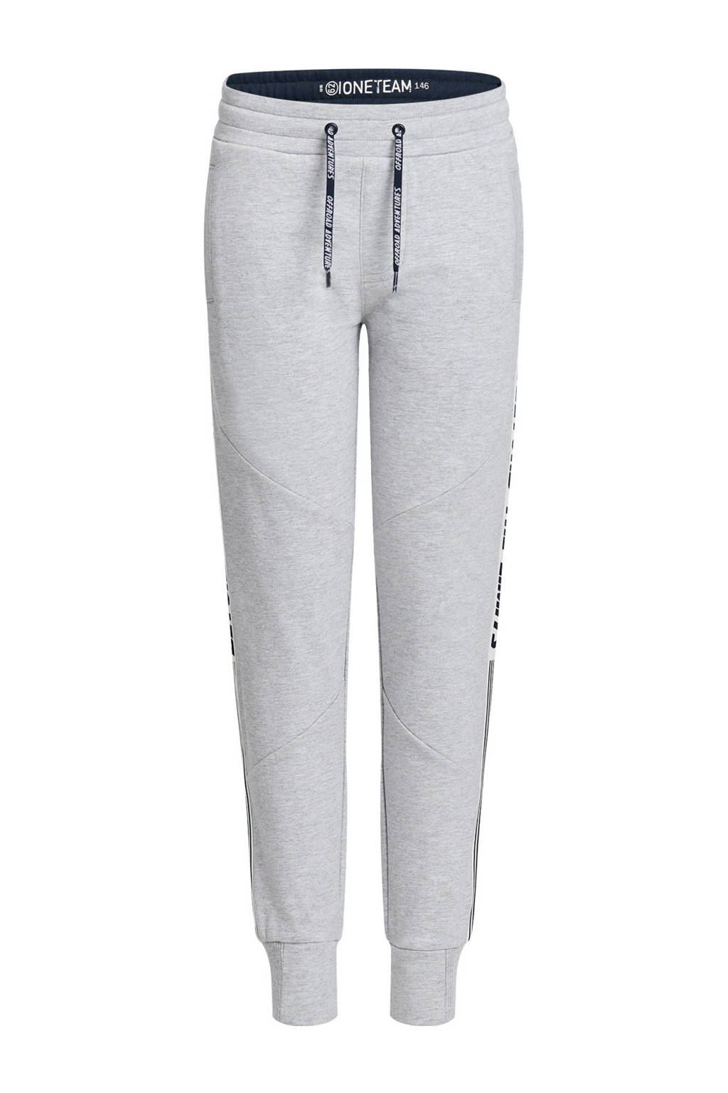 WE Fashion slim fit joggingbroek grijs melange/donkerblauw, Grijs melange