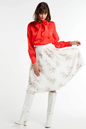 gebloemde plissé rok wit/multi