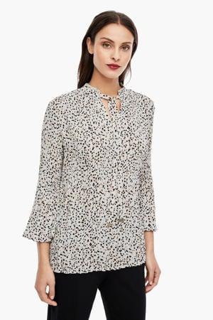 blouse met all over print en ruches zand/bruin/zwart