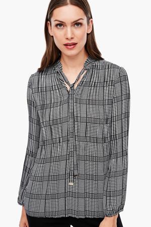 blouse met pied-de-poule en ruches zwart/wit
