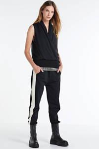 10DAYS cropped straight fit broek met zijstreep zwart/beige, Zwart/beige