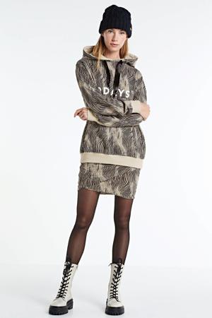 rok met zebraprint en plooien kaki/zwart