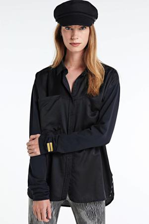 blouse met logo zwart