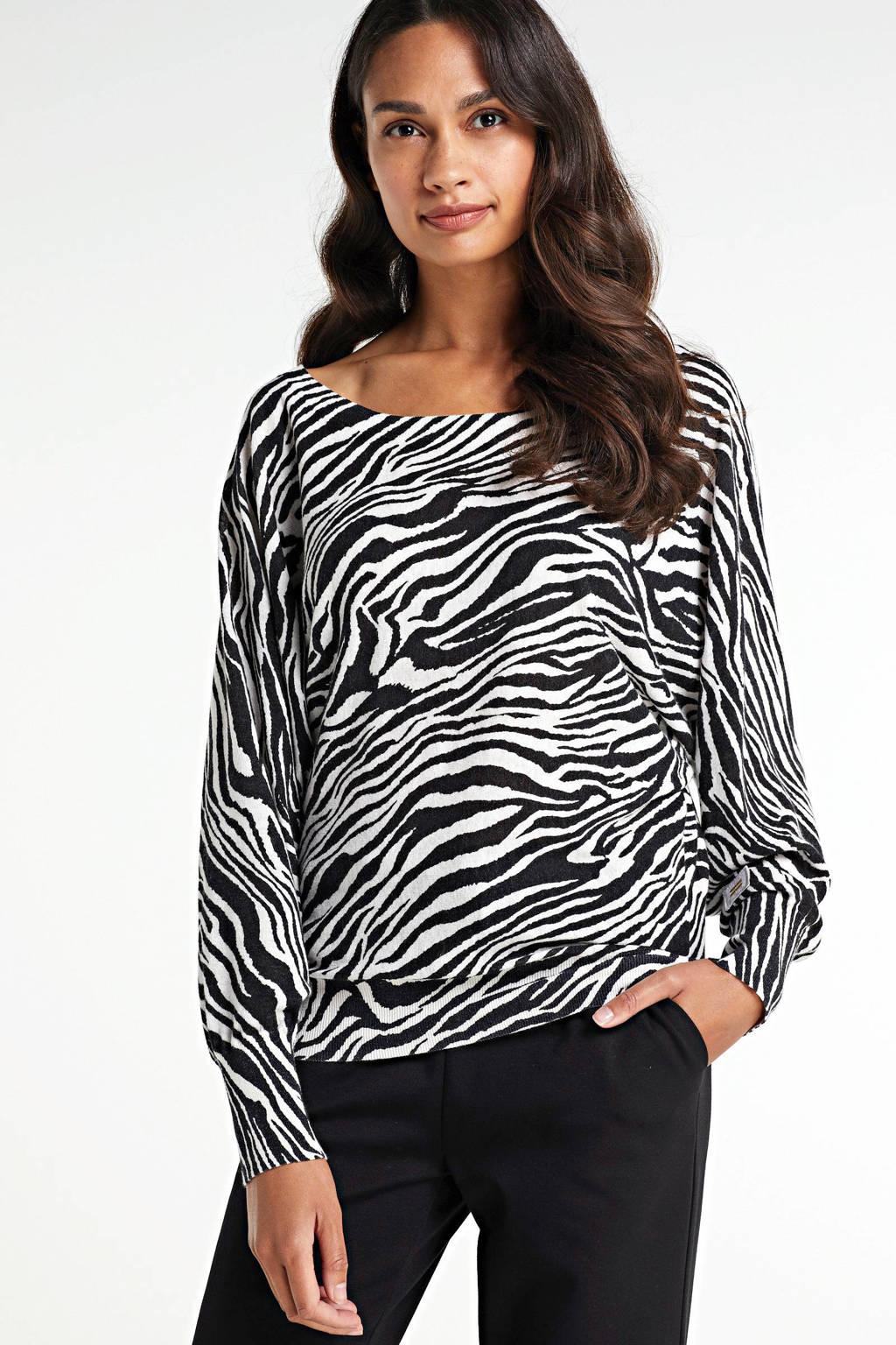 10DAYS trui met zebraprint zwart/wit, Zwart/wit