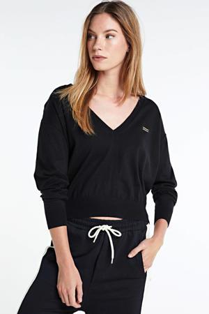 gebreide trui met logo en borduursels zwart