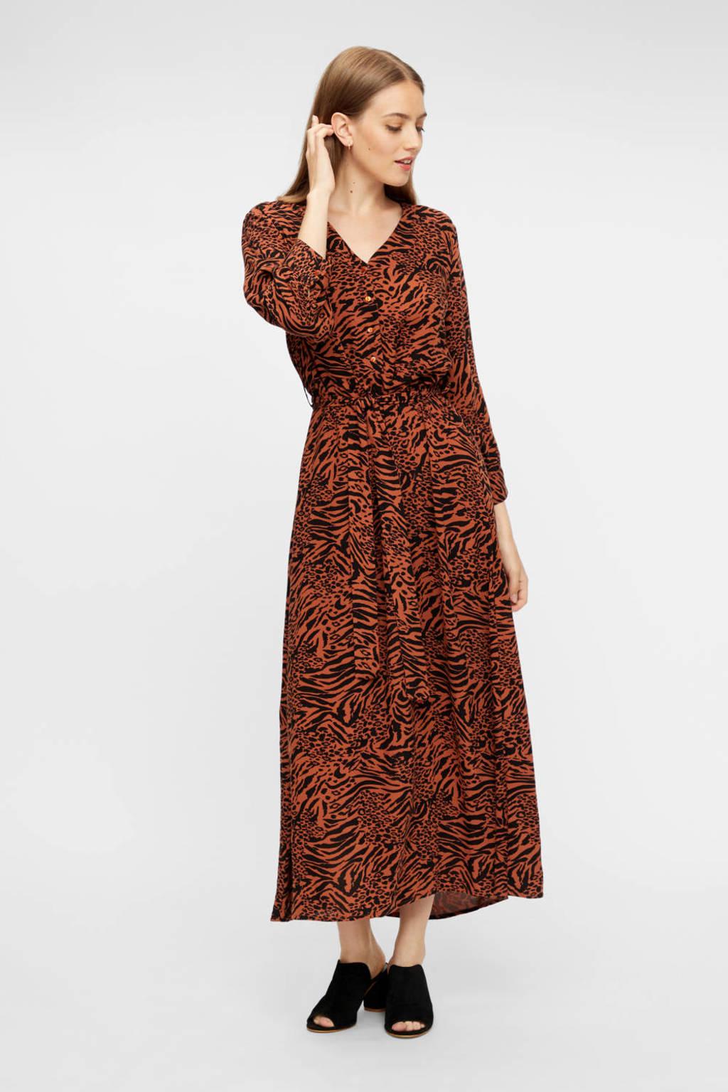 PIECES maxi jurk Brenna met all over print en ceintuur bruin/zwart, Bruin/zwart