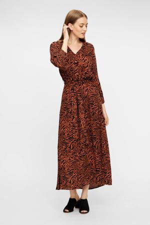 maxi jurk Brenna met all over print en ceintuur bruin/zwart