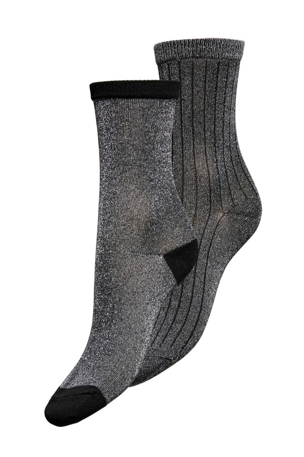 ONLY lurex sokken - set van 2 grijs, Grijs