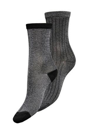 lurex sokken - set van 2 grijs