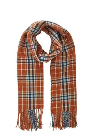 geruite sjaal brique/blauw