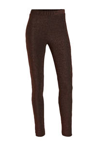 PIECES lurex legging donkerbruin/brons, Donkerbruin/brons