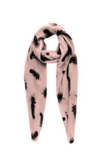 PIECES sjaal met all-over print lichtroze, Lichtroze