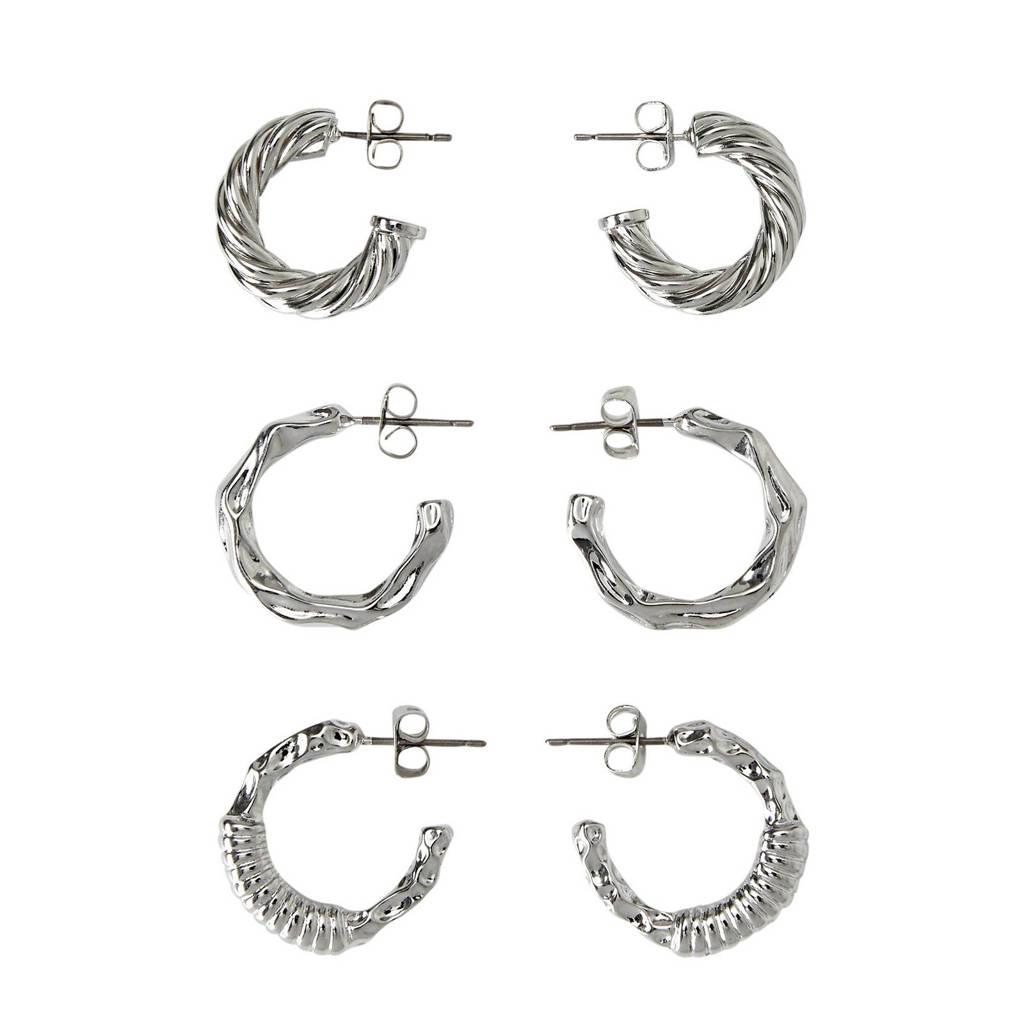 PIECES oorringen (3 paar) zilverkleur, Grijs