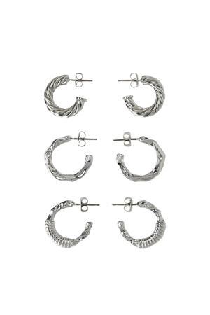 oorringen (3 paar) zilverkleur