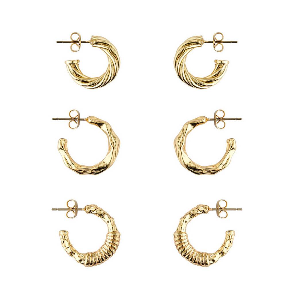 PIECES oorbellen goud (set van 3), Goud