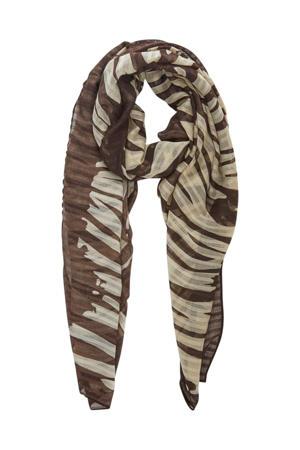sjaal met zebraprint bruin/beige