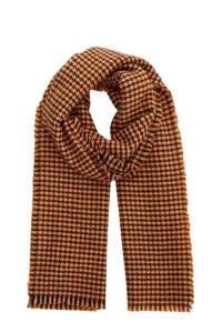 PIECES sjaal met pied de poule motief oker, Oker