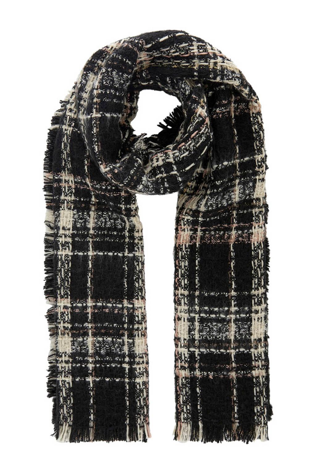 PIECES geruite sjaal zwart, Zwart