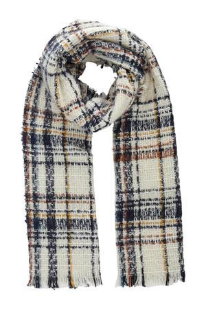 geruite sjaal ecru/blauw