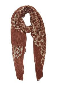PIECES sjaal met panterprint roodbruin, Roodbruin