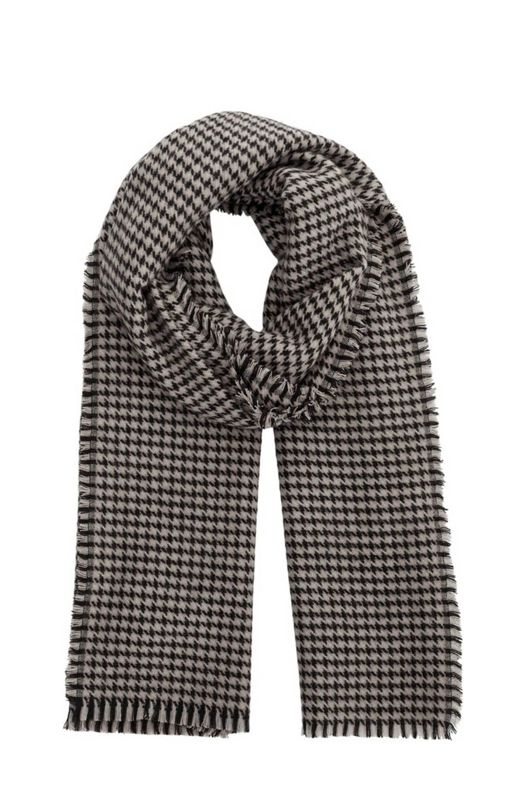 PIECES sjaal met pied de poule motief zwart, Zwart