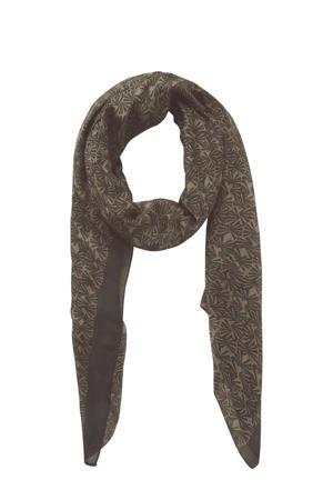 sjaal met all-over print zwart/groen