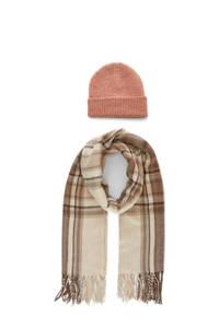 PIECES giftbox muts en sjaal roze/beige, Roze/beige