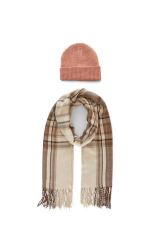 giftbox muts en sjaal roze/beige