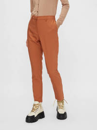 PIECES cropped straight fit pantalon bruin, Bruin