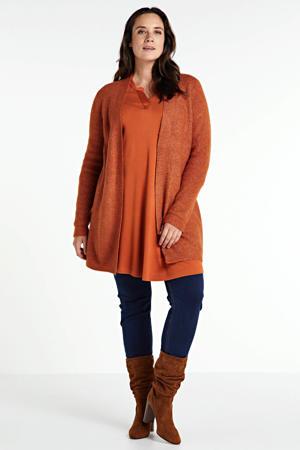 gebreid vest met glitters oranje