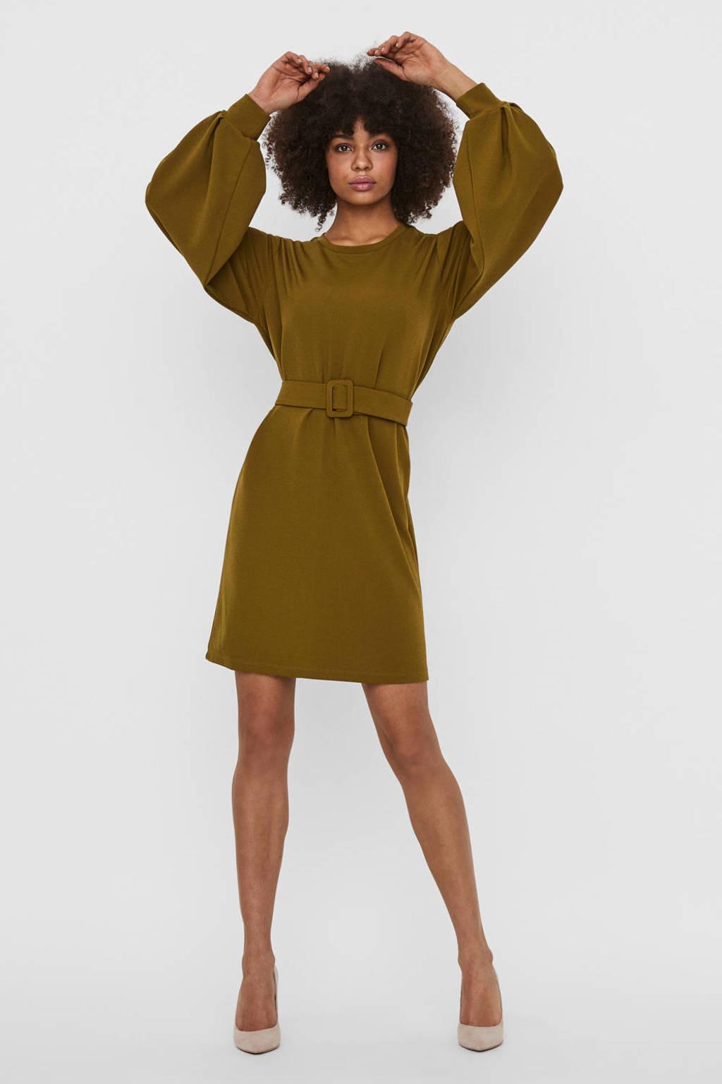 VERO MODA jurk Coral met ceintuur olijfgroen, Olijfgroen