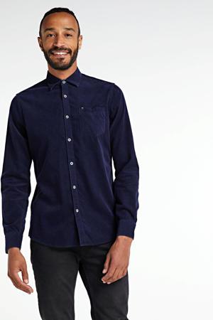 corduroy slim fit overhemd donkerblauw