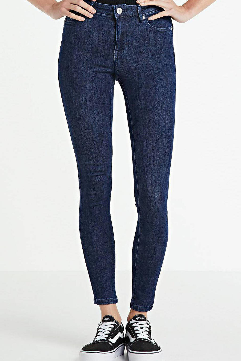 ONLY high waist skinny jeans met biologisch katoen ONLPOWER dark blue denim, Donkerblauw