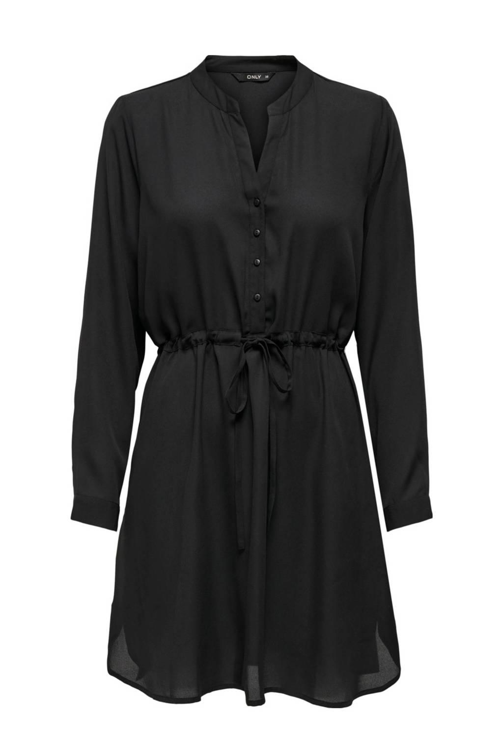 ONLY semi-transparante blousejurk Cory met plooien zwart, Zwart
