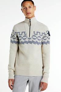 PME Legend trui met wol en all over print ecru/blauw, Ecru/blauw