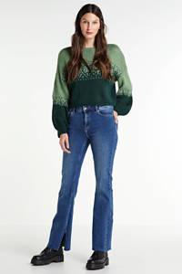 PIECES high waist flared jeans Kamelia met biologisch katoen blauw, Blauw